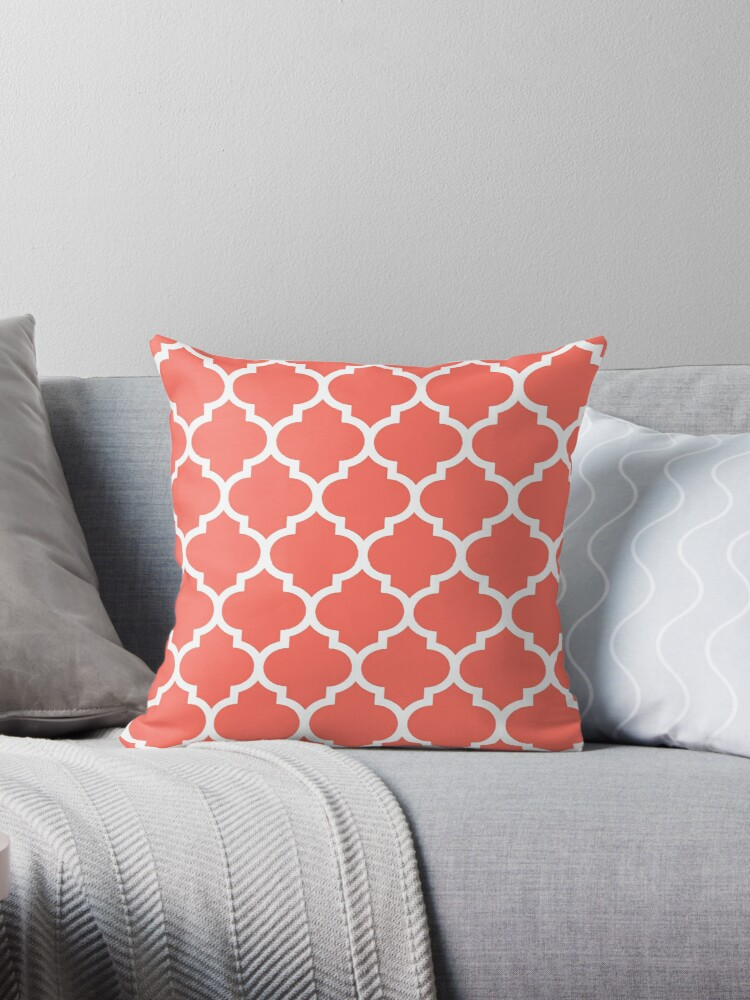 LIVING CORAL WITH WHITE DOMES PATTERN - PANTONE COLOR OF THE YEAR 2019 by ozcushionstoo