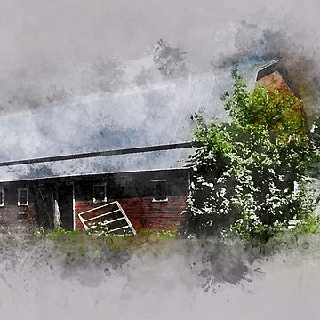 Antique Barn in Watercolor by rhamm