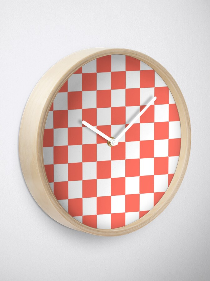 Alternate view of LIVING CORAL CHECK PATTERN WITH WHITE - PANTONE COLOR OF THE YEAR 2019 Clock