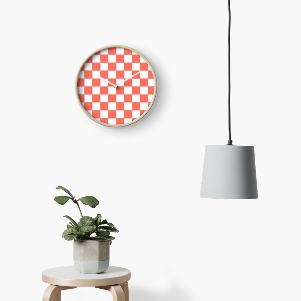 LIVING CORAL CHECK PATTERN WITH WHITE - PANTONE COLOR OF THE YEAR 2019 Clock