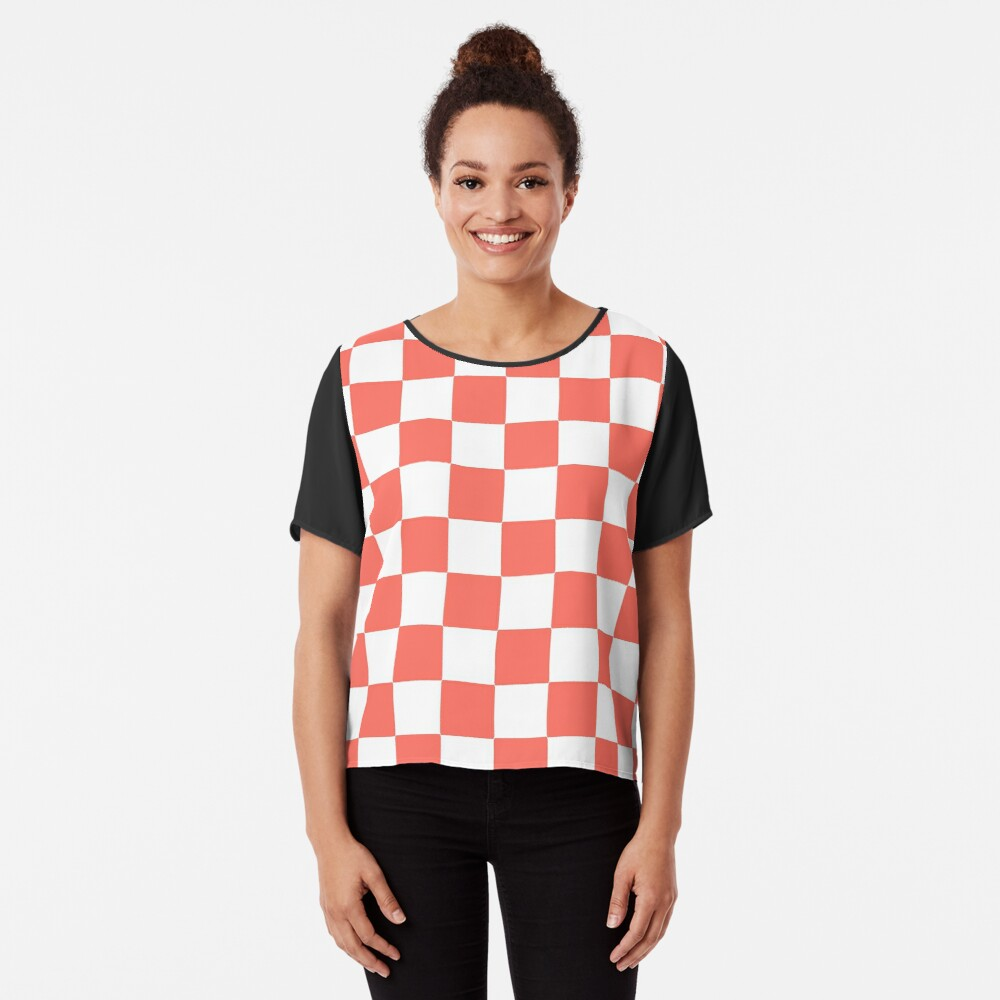 LIVING CORAL CHECK PATTERN WITH WHITE - PANTONE COLOR OF THE YEAR 2019 Chiffon Top