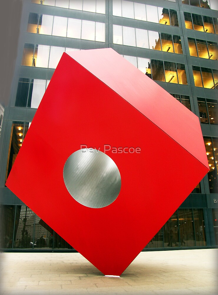Red Cube Sculpture on Broadway, New York by Bev Pascoe