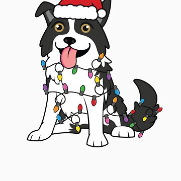 Border Collie Christmas with Santa Hat, Christmas Lights by EstelleStar
