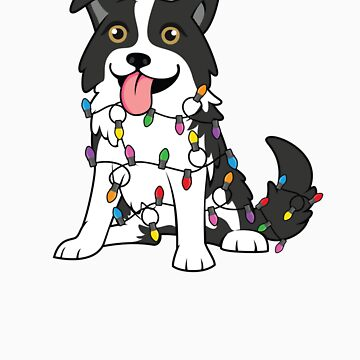 Border Collie Christmas with Christmas Lights by EstelleStar