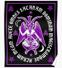 Satanic Baphomet with latin Hail Satan Text Poster
