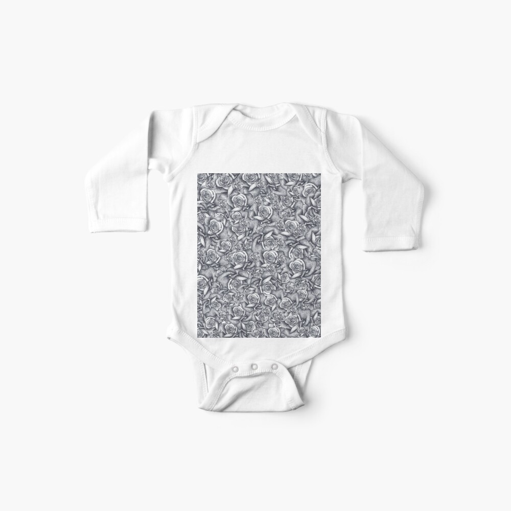 Impresión hermosa rosa blanca negra Bodies para bebé