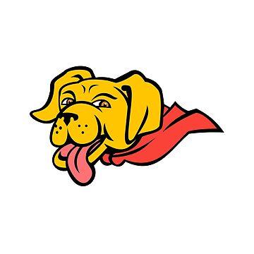 Super Yellow Labrador Retriever Wearing Cape Mascot by patrimonio