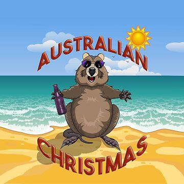Australian Christmas - Quokka on the Beach by AmandaMLucas