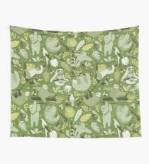 Easy living jungle sloths   green Wall Tapestry