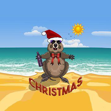 Australian Christmas!  Quokka in a Santa Hat on the Beach. by AmandaMLucas