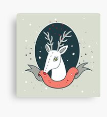 Christmas deer New Year Holiday greeting card design template Cute hand drawn design on light green background Canvas Print