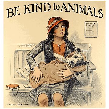 """Vintage """"Be Kind to Animals"""" - Little Girl Design by Chunga"""