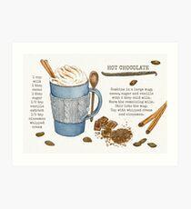 Illustrated Recipe: Hot Chocolate Art Print