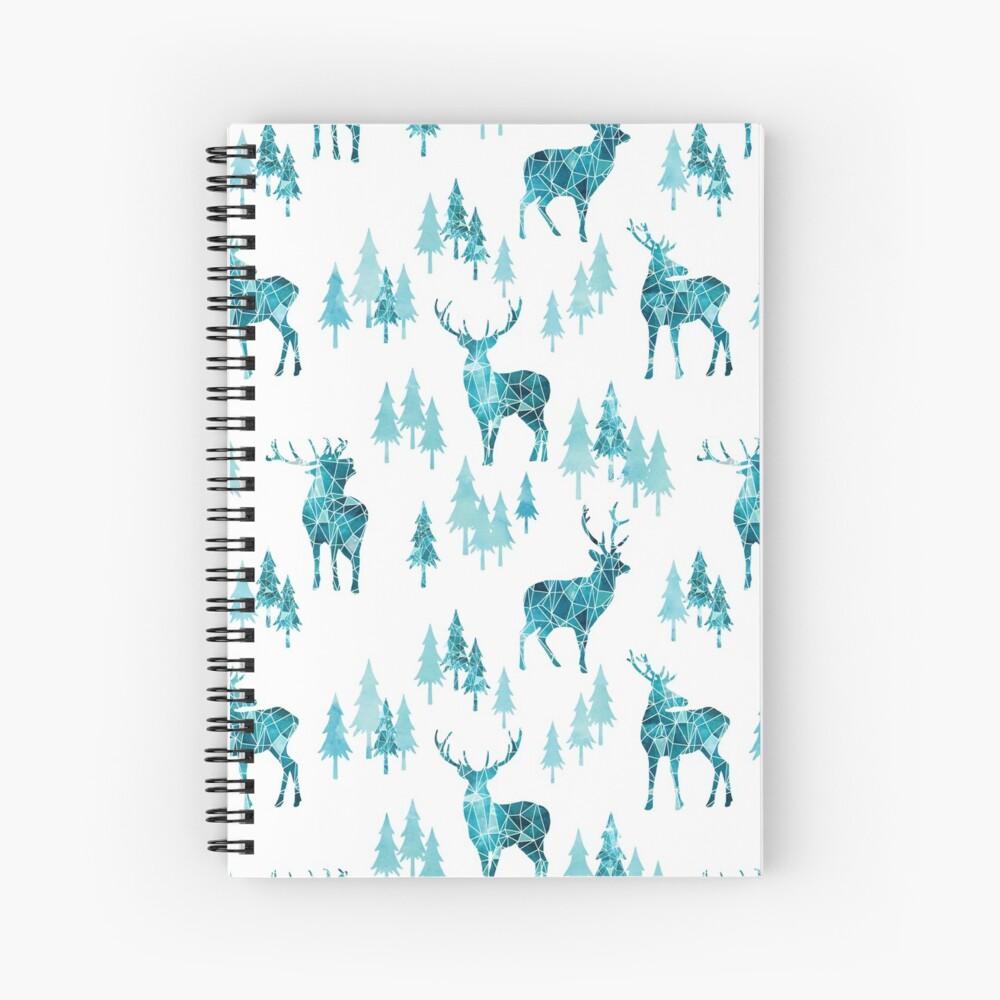 Ice Forest Deer Spiral Notebook
