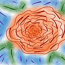 « Fleurs rose sur fond artistique bleu » par VataYellowSeed