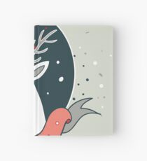 Christmas deer New Year Holiday greeting card design template Cute hand drawn design on light green background Hardcover Journal