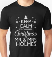 Holmes Newlywed First Christmas Together Gifts For Couple Unisex T-Shirt