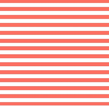 PANTONE COLOR OF THE YEAR 2019 -LIVING CORAL MEDIUM HORIZONTAL STRIPES  by ozcushionstoo