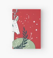 Christmas deer New Year Holiday greeting card Hand drawn Cute and unique design elements Red Green Colors Holidays Celebration Hardcover Journal