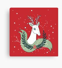 Christmas deer New Year Holiday greeting card Hand drawn Cute and unique design elements Red Green Colors Holidays Celebration Canvas Print