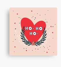 Christmas wreath and Red heart and Ho - Ho - Ho phrase greeting card design on pink background Unique cute hand drawn elements Canvas Print