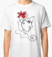 Blumenmädchen - Line Art Classic T-Shirt