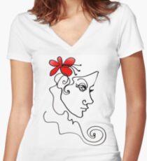 Blumenmädchen - Line Art Shirt mit V-Ausschnitt