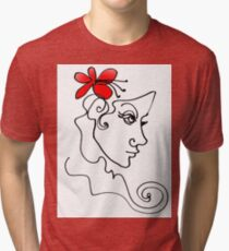 Blumenmädchen - Line Art Vintage T-Shirt