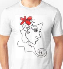 Blumenmädchen - Line Art Unisex T-Shirt