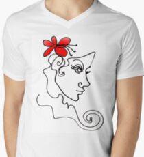 Blumenmädchen - Line Art T-Shirt mit V-Ausschnitt für Männer