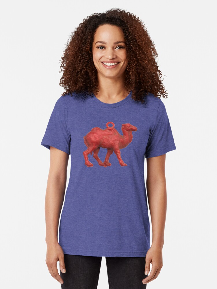 Alternate view of Genetically challenged camel trying to cross the blue mirage Tri-blend T-Shirt