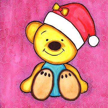 Watercolor Christmas Art | Christmas Teddy Bear by coloringiship