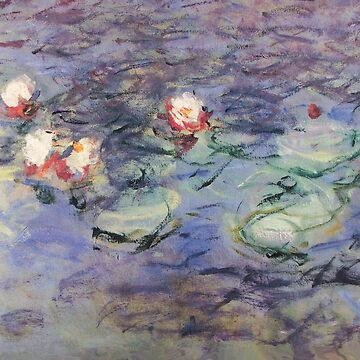 WATER LILIES IN PINK AQUA BLUE HUES ,MORNING Detail from Claude Monet by BulganLumini