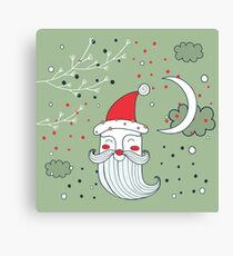 Merry Christmas Happy New Year Santa Claus greeting card Banner Green background Holiday wreath design elements Canvas Print