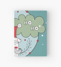 Merry Christmas Happy New Year Santa Claus greeting card Banner Green background Holiday wreath design elements Hardcover Journal
