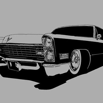 1967 Cadillac Coupe Deville - stylized monochrome by mal-photography