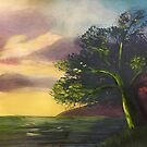 Tree at the Edge of the Earth - original painting by mjh by eustacia42