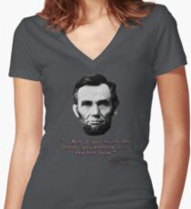 Abe Lincoln Lava Women's Fitted V-Neck T-Shirt