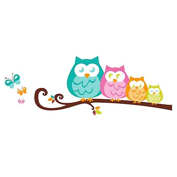 Owl with owls friends on branch by vodanet