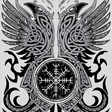 Huginn & Muninn, Odin's Ravens by celthammerclub