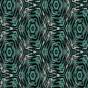 Ethnic ikat pattern. Turquoise and black by marinaklykva
