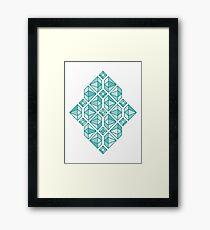 Diamonds - Geometric Pattern (Turquoise) Framed Print
