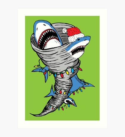 Tornado de Santa Shark Lámina artística