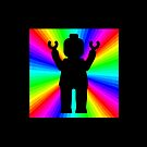 Black Minifig in front of Rainbow by ChilleeW