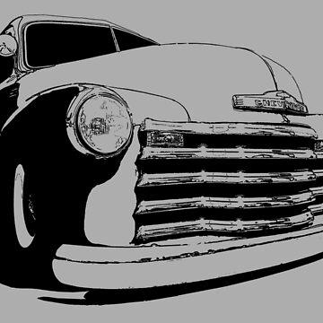 Chevy 3100 Pickup - stylized monochrome by mal-photography