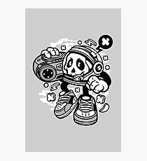 Astronaut Boombox pumping the sounds - Astronaut skull head Character in space helmet funny and fun! Photographic Print