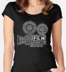 Film Kamera Typografie - Weiß Tailliertes Rundhals-Shirt