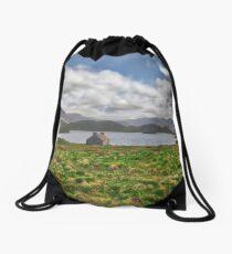 Loch side cottage, Scotland Drawstring Bag