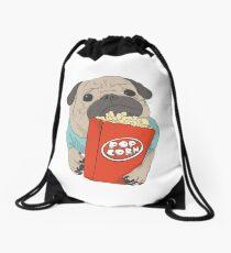 Pug with popcorn Drawstring Bag