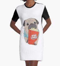 Pug with popcorn Graphic T-Shirt Dress